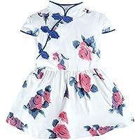 BIG ELEPHANT Baby Girls' 1 Piece Floral Short Sleeve Chinese Cheongsam Dress O52O53