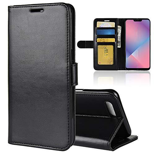 Vicstar OPPO R15 Neo 専用ケース 高級感 レザー PU カードポケット ライチ紋様 手帳型ケース カード収納あり 保護ケース ブラック