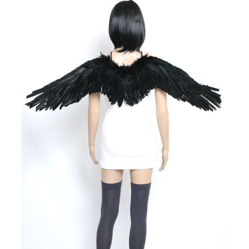 天使 女神 風 翼 羽 コスチューム用小物 ブラック