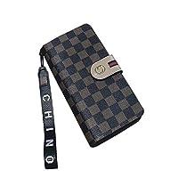 女性の財布ロングバックルクラスプハンドバッグファッション多機能レディース財布財布 (Color : Brown, Design : A)
