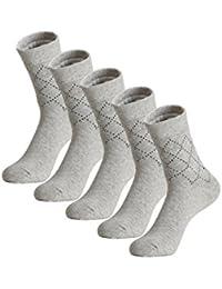 uxcell 靴下 ソックス 伸縮性 アーガイル柄 メンズ 男性用 5足セット