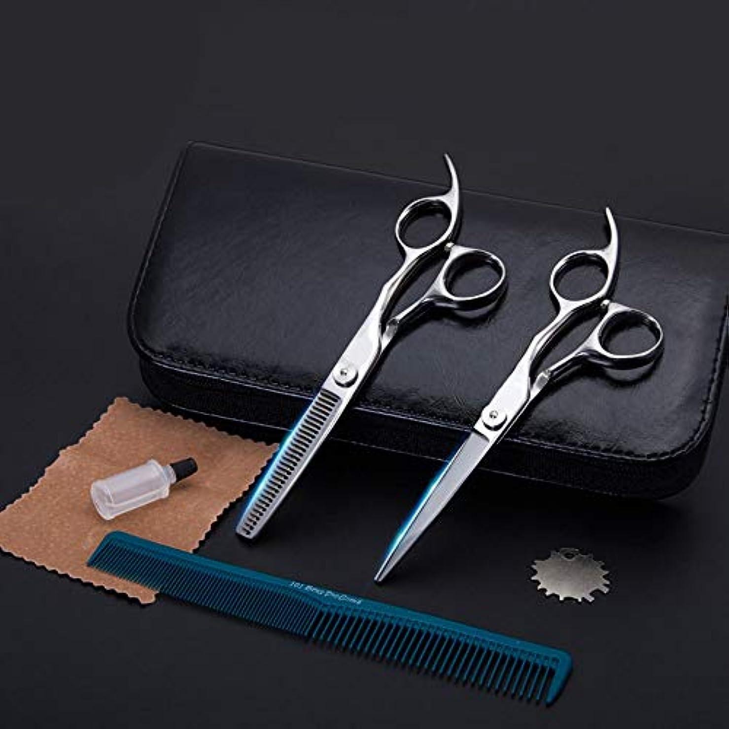 郊外執着ゾーンGoodsok-jp ハイエンドの理髪はさみ、6インチの理髪師の理髪セットの歯のはさみの平らなせん断 (色 : Silver)