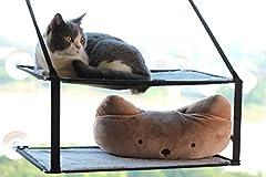 伊の淳 猫ハンモック 猫窓 ベッド 窓台ハンモック 猫ベッド 猫ちゃんハンモック 2階式 窓取り付けタイプ 吸盤ハンモック (ダブル, 灰色)