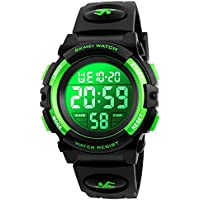 Kids Digital Sport Watch Boys Waterproof Casual Electronic Analog Quartz 7 Colorful Led Watches with Alarm Wrist Watches for Boy Girls Children Green