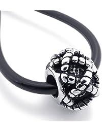 [テメゴ ジュエリー]TEMEGO Jewelry メンズステンレススチールヴィンテージペンダント刻印彫刻クロスビーズネックレス、調節可能なシリコーン鎖[インポート]