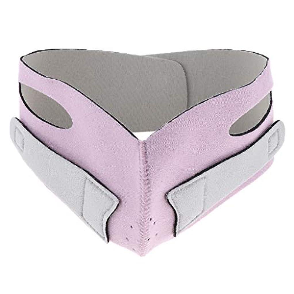 見えない牽引歪める引き上げマスク 頬リフトアップ V-ラインマスク リフティング リフトスリムマスク 通気性 全2色 - ピンク