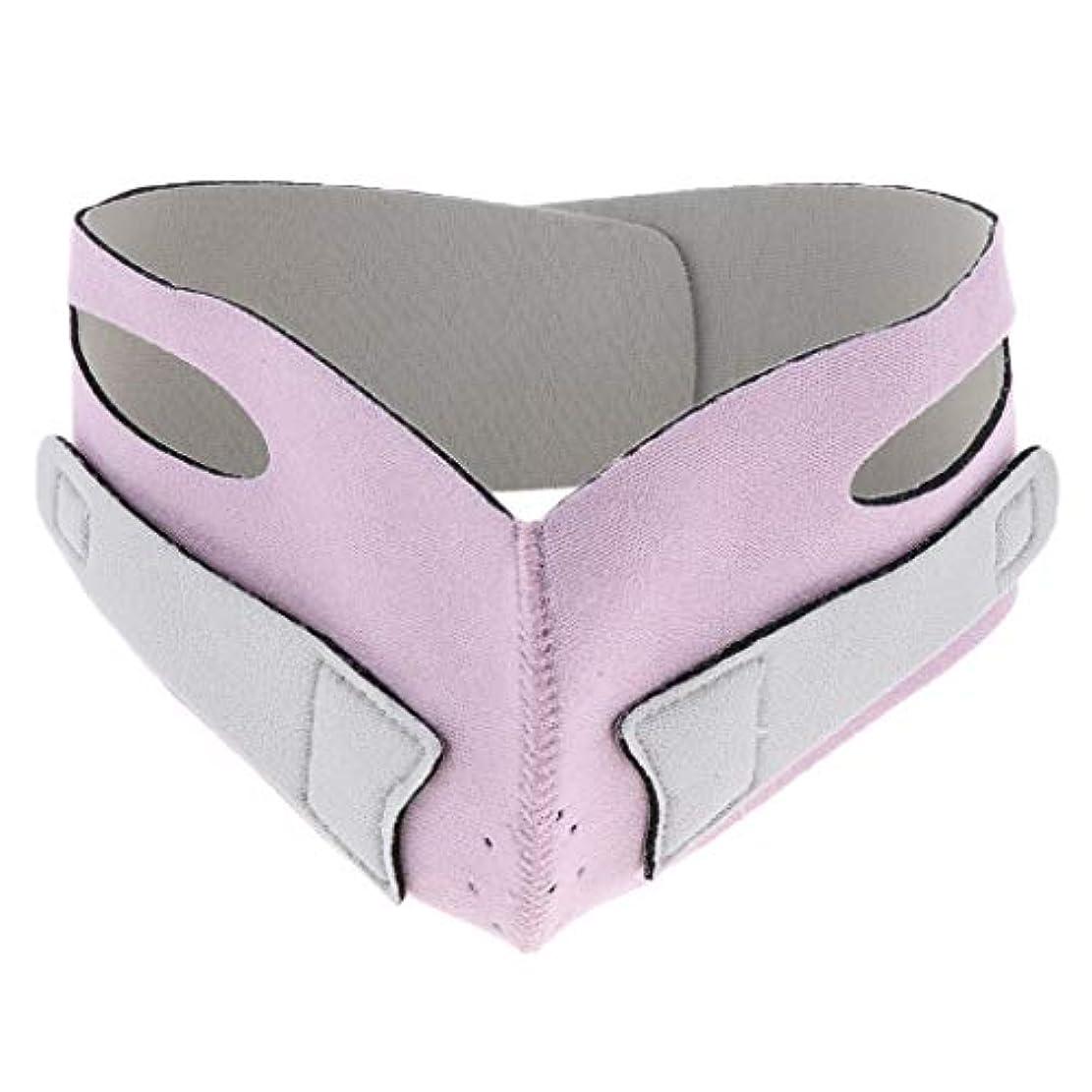 尊敬するリスナーマークされた引き上げマスク 頬リフトアップ V-ラインマスク リフティング リフトスリムマスク 通気性 全2色 - ピンク