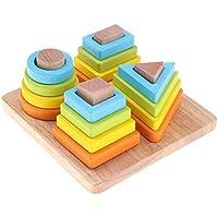 Fenteer 木製積み重ね&ソートパズル おもちゃ 幾何学ボード 誕生日ギフト 幼児 男の子 女の子