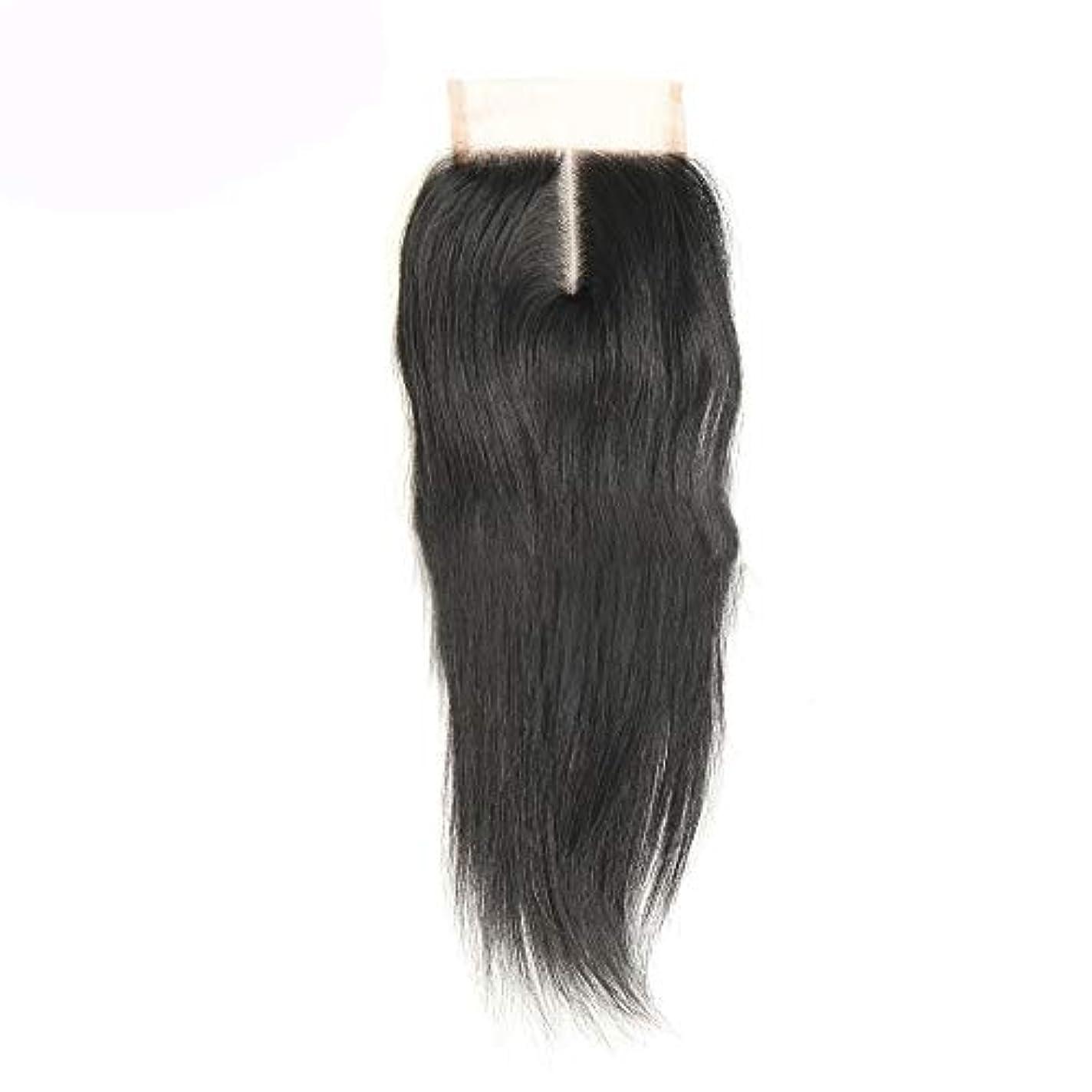 電子静脈高原WASAIO 中部ストレートレース閉鎖ブラジル人間の髪の毛の閉鎖 (色 : 黒, サイズ : 8 inch)