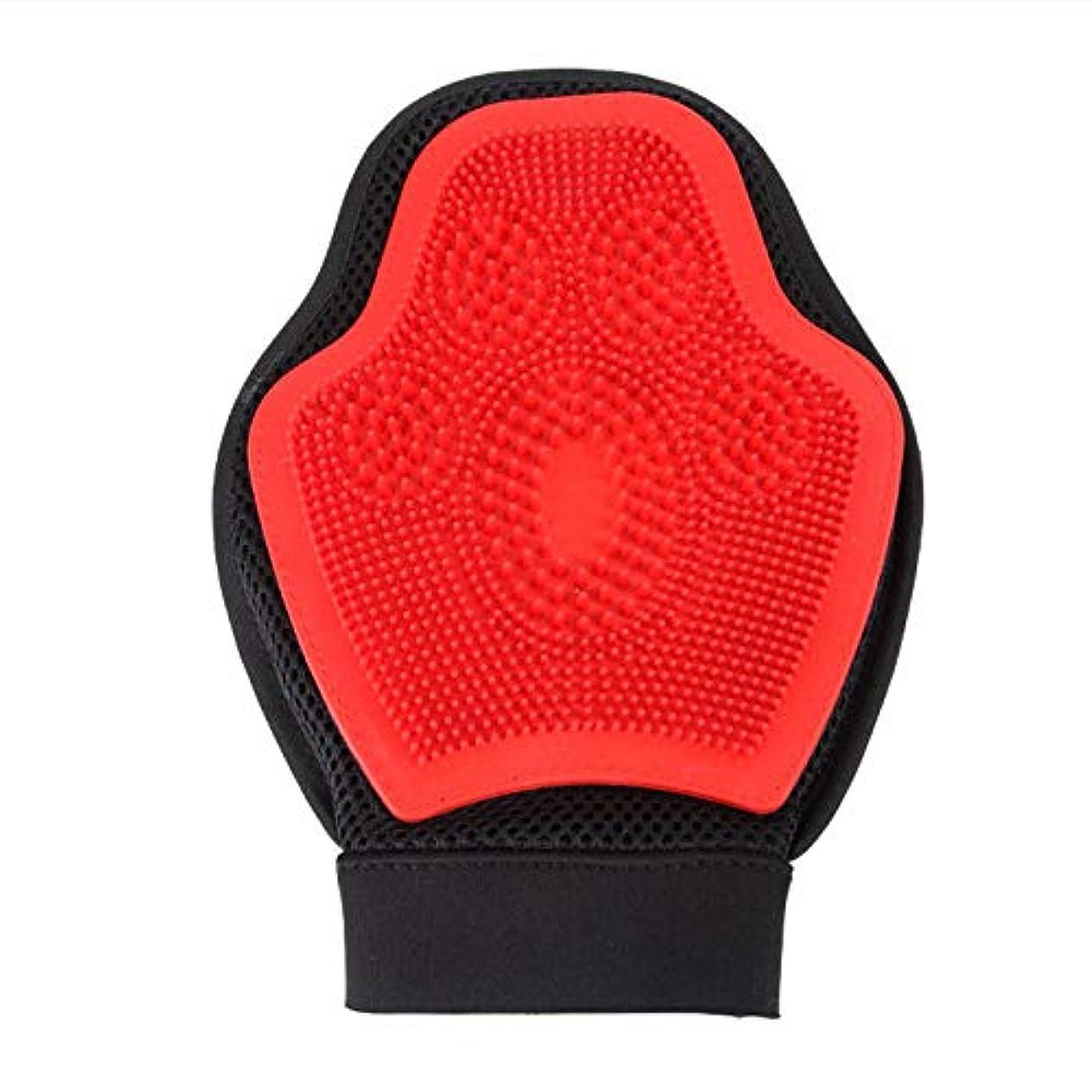 シンプルさブースト惨めなBTXXYJP 手袋 ペット ブラシ グローブ 猫 ブラシ クリーナー 抜け毛取り ブラッシング マッサージブラシ 犬 グローブ ペット毛取りブラシ お手入れ (Color : Red, Size : L)