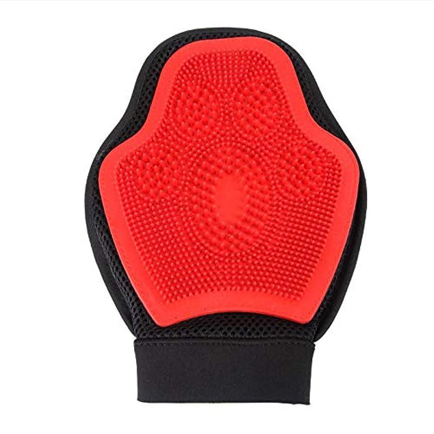 BTXXYJP 手袋 ペット ブラシ グローブ 猫 ブラシ クリーナー 抜け毛取り ブラッシング マッサージブラシ 犬 グローブ ペット毛取りブラシ お手入れ (Color : Red, Size : L)
