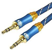 AUXケーブルオーディオケーブル補助オーディオケーブル[24K金メッキ、ナイロン編組]ヘッドフォン、ラップトップ、携帯電話、タブレット、MP3プレーヤー、カーステレオおよびその他の5Ft / 1.5メーター用のもつれのない3.5mm AUXケーブル