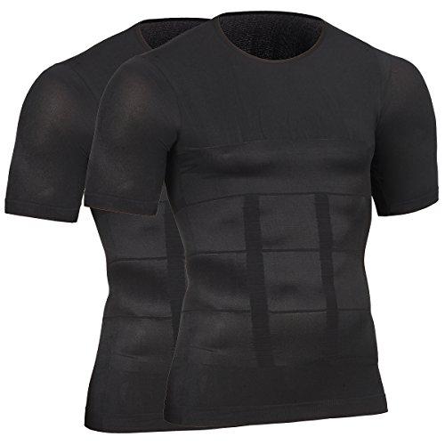 HONENNA 2セット 加圧インナー 加圧シャツ 着圧スポーツインナー メンズ インナー 男性用機能性肌着 コンプレッションウェア (L, ブラック)