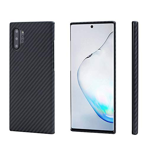 「PITAKA」MagEZ Case Samsung Galaxy Note 10+ ケース 対応 アラミド繊維 カーボン風 超薄(0.85mm) 超軽量(17g) 耐衝撃 ワイヤレス充電対応(黒/グレ-ツイル柄)