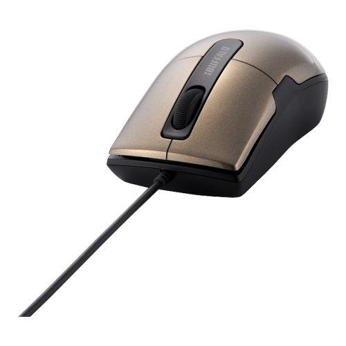 『iBUFFALO 有線BlueLEDマウス Sサイズ ブラウン BSMBU16SBW』のトップ画像