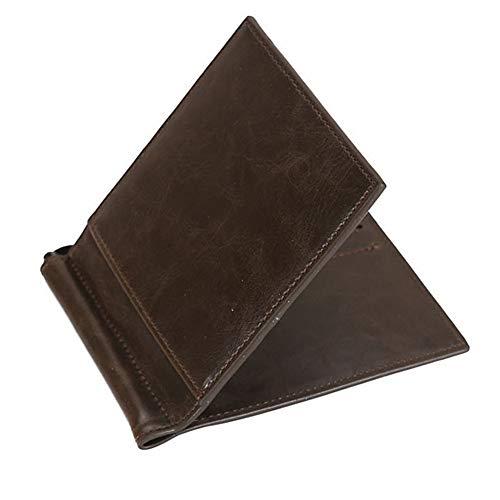 5325144f6a69 マネークリップ 薄い 財布 二つ折り お札入れ カード入れ付き メンズ レザー 革 全5色 (コーヒー)
