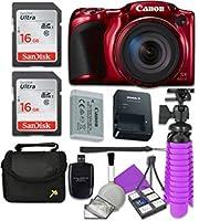 Canon PowerShot sx420is wi - fiデジタルカメラ(レッド) with 2x SanDisk 16GB SDメモリカード+三脚+ケース+カードリーダー+クリーニングキット