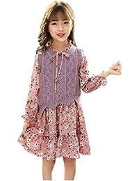 VITryst 女の子不規則かわいいニットウェアベージュ印刷花スカートドレス