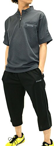 SPALDING(スポルディング) ランニングウェア 上下セット セットアップ ドライ スポーツシャツ ジャージ ショートパンツ セット メンズ ブラック L