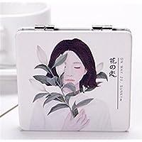 HuaQingPiJu-JP ミニスクエア折りたたみ漫画フラワーガールのパターンのミラー工芸装飾化粧品アクセサリー