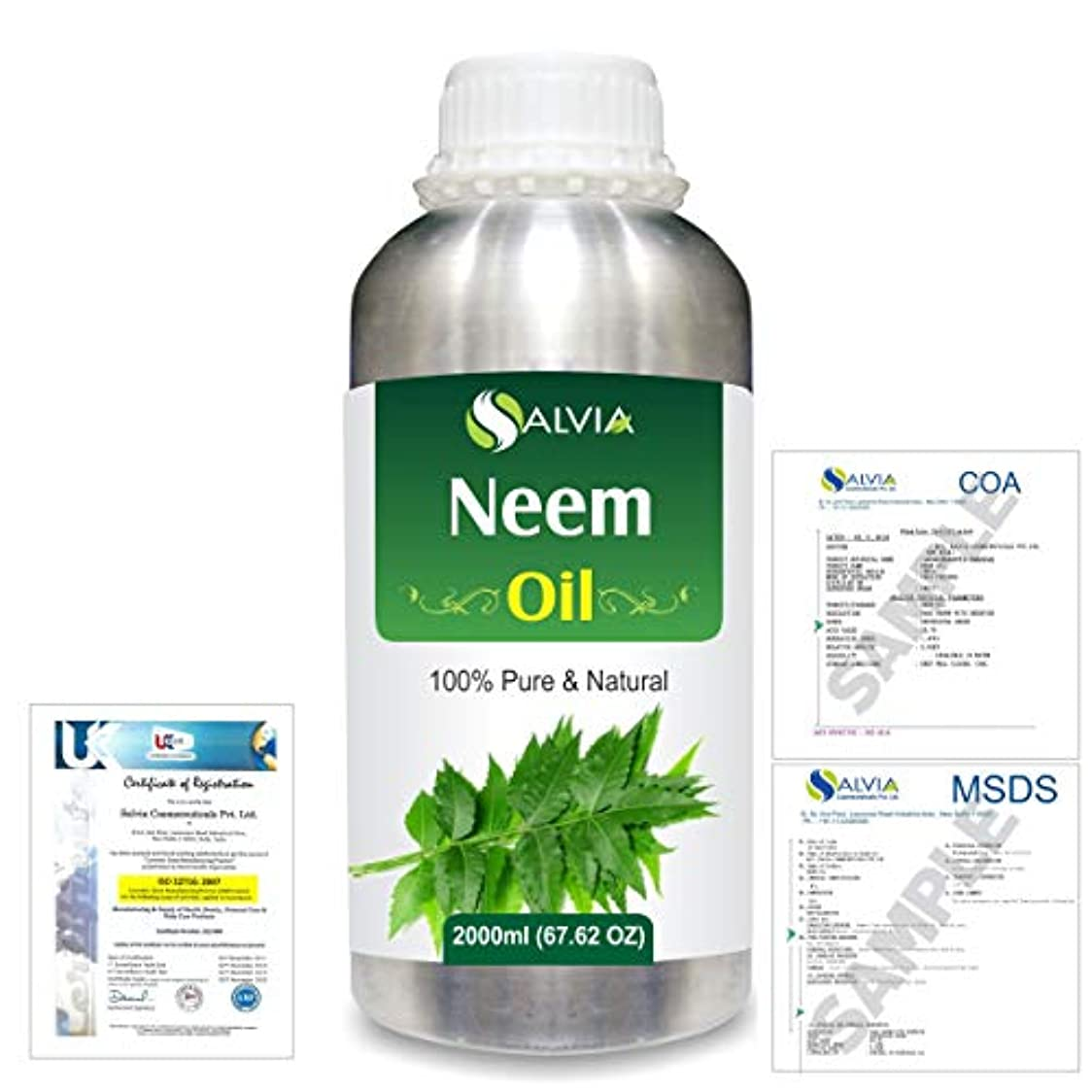 退化する咲くフィッティングNeem (Azadirachta indica) 100% Natural Pure Essential Oil 2000ml/67 fl.oz.