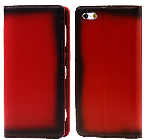 Esperanza 最高級 本革 iPhone6 iPhone6s スマホ ケース 古代ローマ帝国の伝統技法 スフマート製法  硬度 9H 強化 ガラスフィルム セット   アイフォン6 ケース 手帳型 マグネット式 カード ポケット スタンド 機能 付 (iPhone6, チェリーレッド)