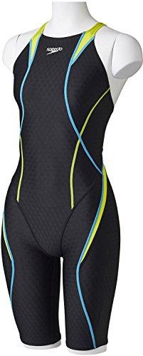 Speedo(スピード)レディース競泳水着スパッツスーツFLEXCubeウイメンズオープンバックニースキンSD46H03ワイルドライム×アクアブルー(LB)L