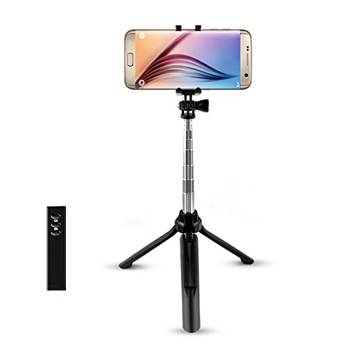 Cyber Cart-自撮り棒 セルカ棒 伸縮自在 Bluetooth Android iPhoneスマートフォン対応 無線式 三脚 シャッターボタン付き Black