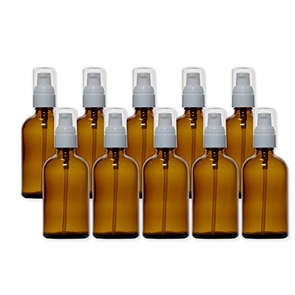 [白キャップ] 茶色 (アンバー) ガラスポンプボトル 100ml (10本セット)