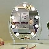 明るいLED化粧鏡 ライトアップ 大型ドレッサーミラー メタルフレーム 調整可能3光源 、センサースイッチ シェービングミラー 寝室 さんギフト