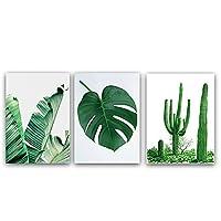 ポスターアート緑の植物キャンバスプリント装飾写真ウォールアートリーフペインティングリビングルーム装飾,3pcs,40x60cm
