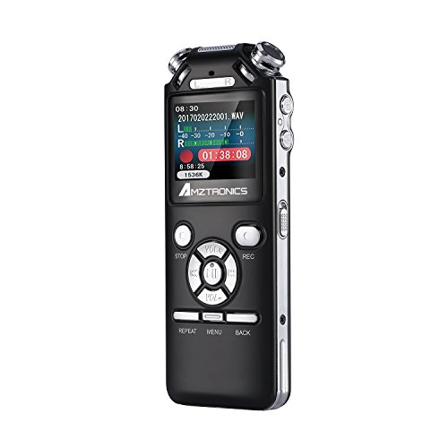 AMZtronics ICレコーダー ボイスレコーダー 8GB 録音機 長時間連続録音 内蔵スピーカー ノイズキャンセル搭載 超高音質 音楽プレイヤー 日本語説明書付き