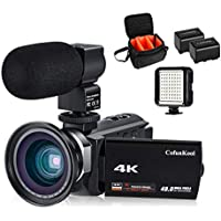 4Kビデオカメラ CofunKool UHD 48MP WIFI 16倍デジタルズーム 3インチIPSタッチパネル IR暗視 バッテリー2個 外付けマイク LEDライト 広角レンズ搭載 肩掛けバッグ