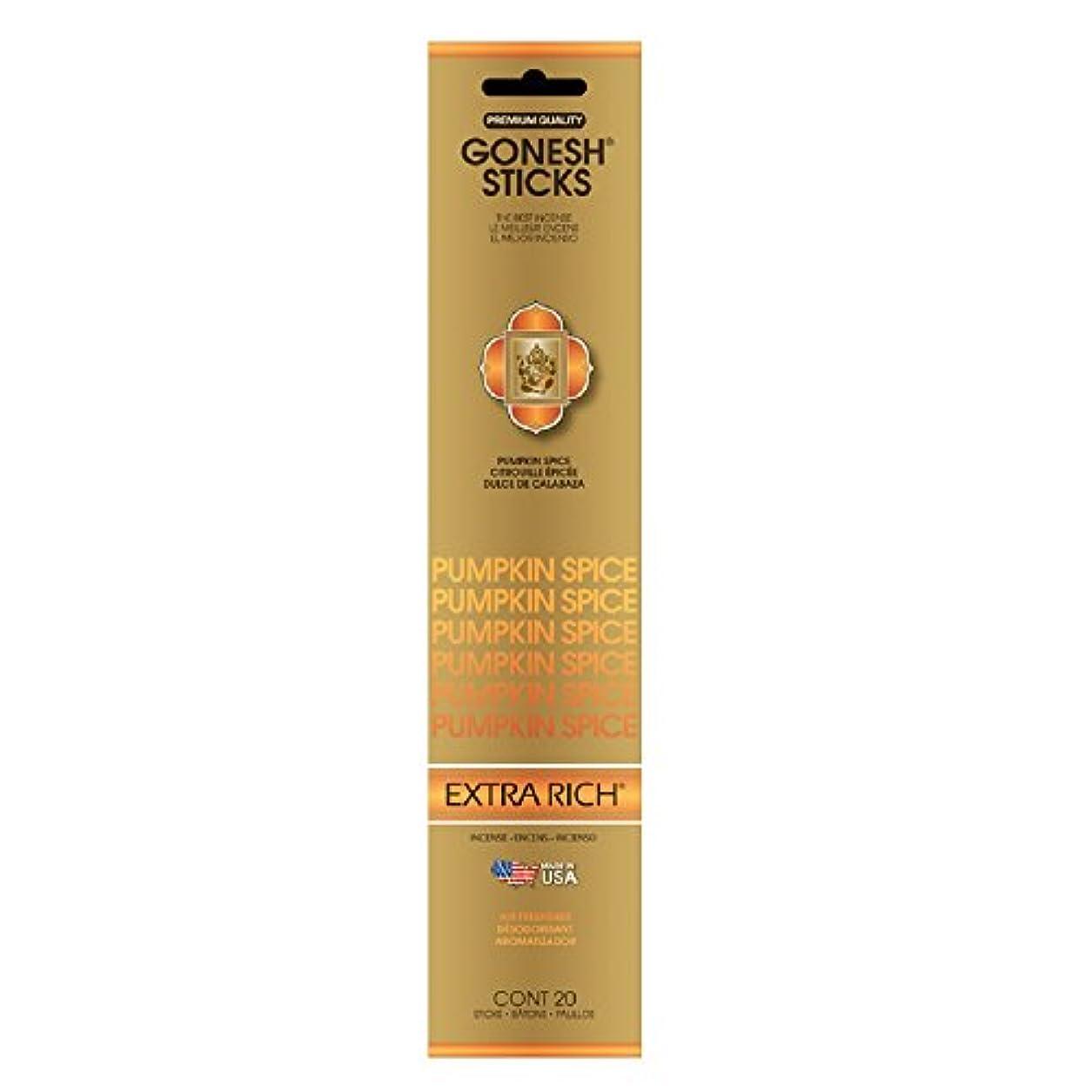 入射遅い無駄なGonesh Incense Sticks Extra RichコレクションPumpkin Spice、20ピース