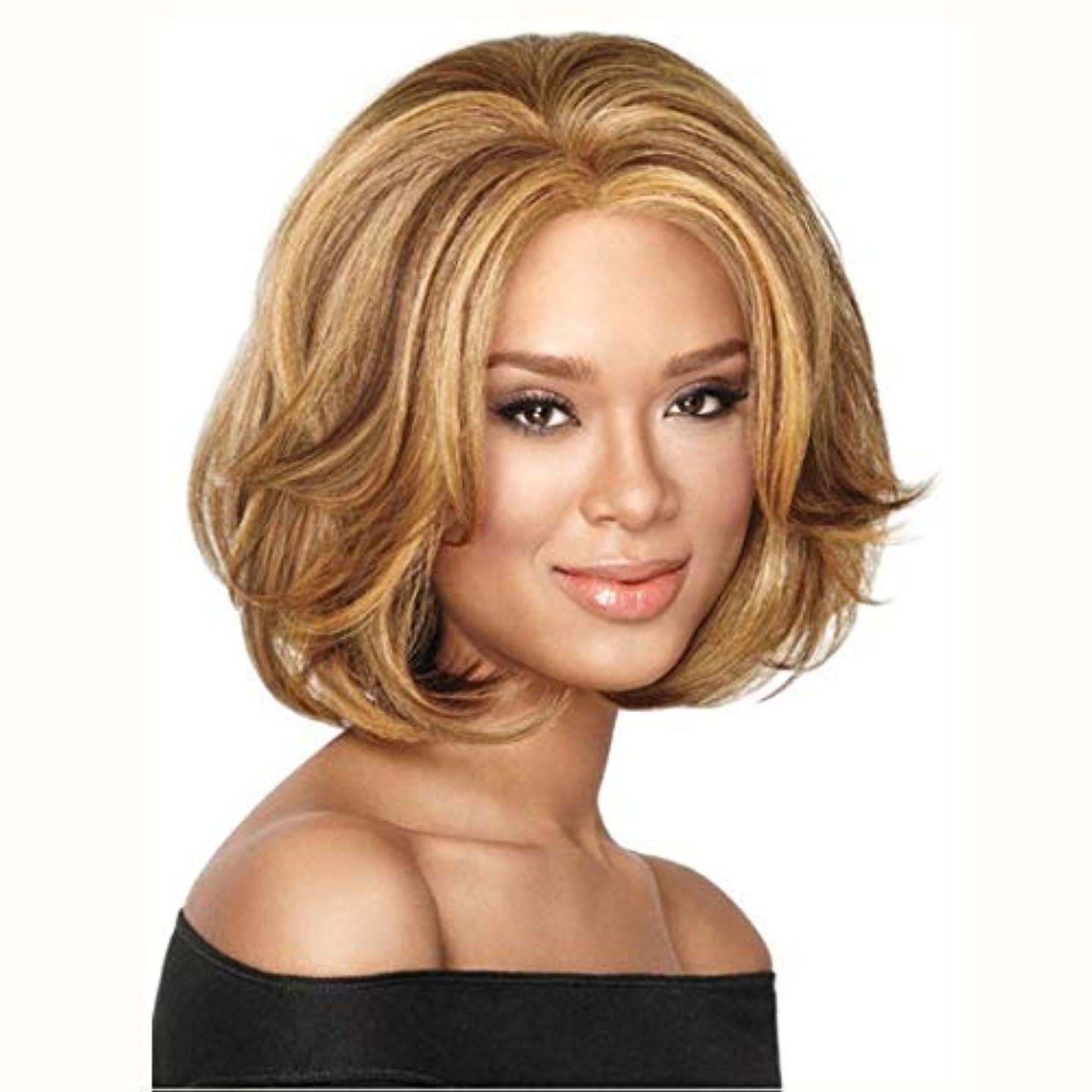 圧縮する五十より良いSummerys 短い髪ゴールデン巻き毛ふわふわ短い巻き毛ハイライトウィッグ女性用ヘッドギア