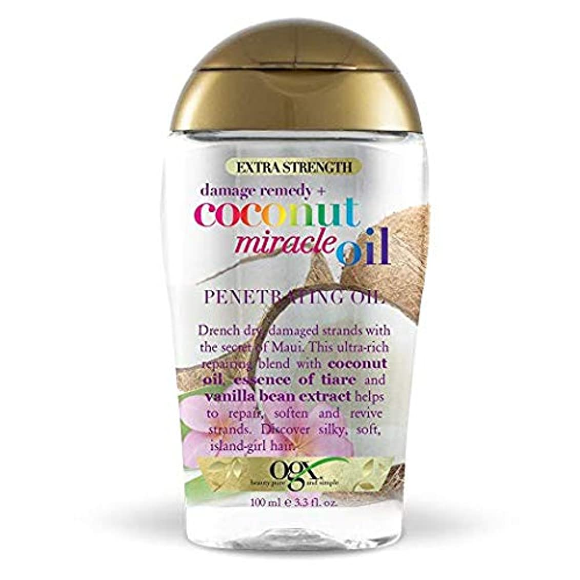雨ファンブルいらいらさせるOgx Penetrating Oil Coconut Miracle Oil Extra Strength 3.3oz OGX ココナッツミラクルオイル エクストラストレングス ペネトレーティング オイル 100ml...
