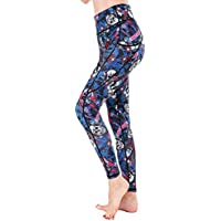 HoneyStore Women's High Waist Printed Yoga Pants Stretch Leggings with Pockets