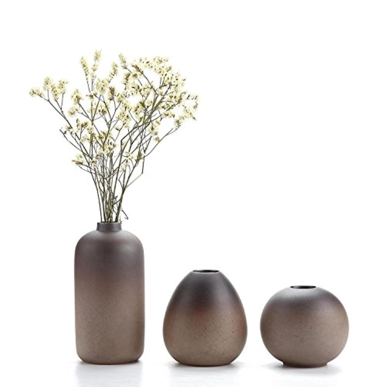 T4U 8CM 古風陶器鉢 柴焼き花瓶 花器 水生植物 生け花 3点セット