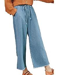 [スプリングスワロー] SpSw レディース デニム ワイド ガウチョ パンツ フリンジ 裾 ウエストゴムが楽ちん