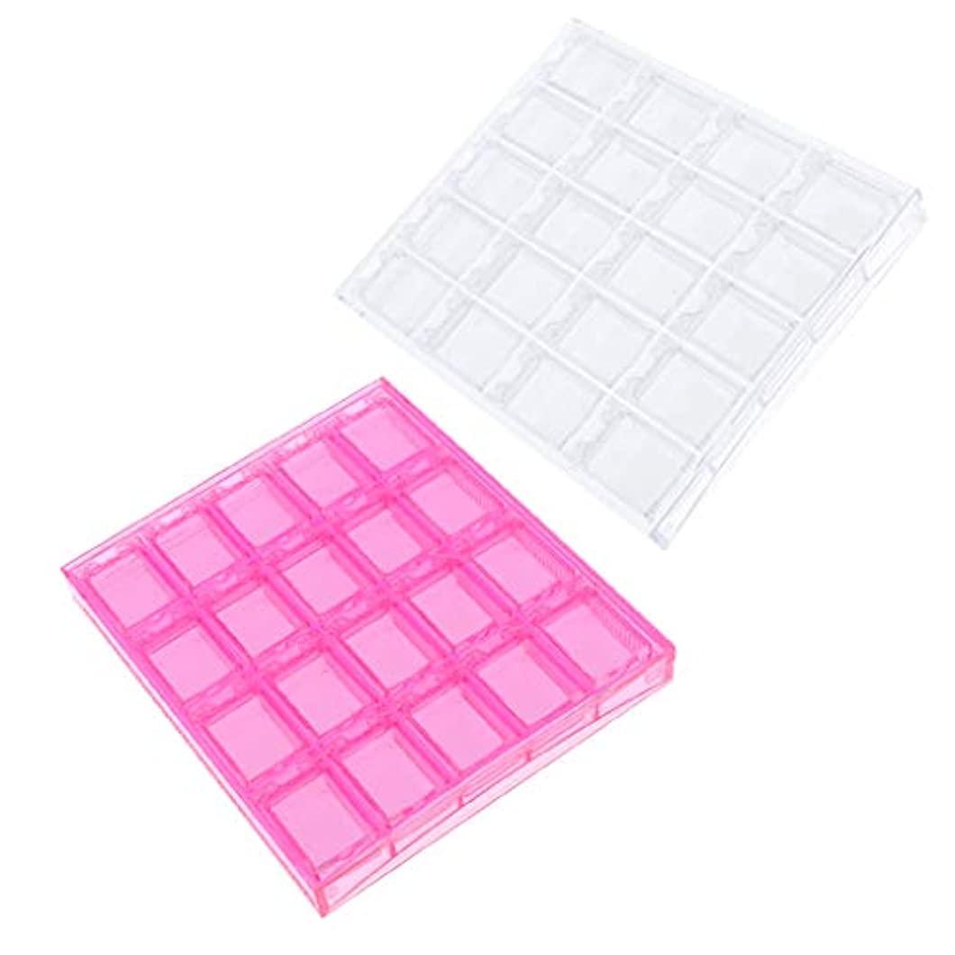 ロマンチック削る透けるDYNWAVE ネイルアートツール収納 ジュエリー オーガナイザー クリアピンク プラスチックケース 2個入り