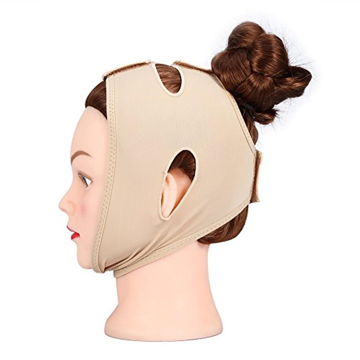褐色キャビン忠実フェイシャルシェーピングマスク、フェイスリフトアップシンネックマスクバンデージ(M)