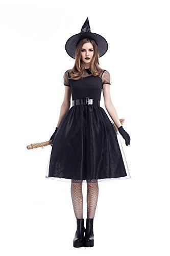 魔女 コスプレ衣装 ガール ハロウィン 魔法 4点セット 女性用 巫女 公演服 M L XL 1727 (L)