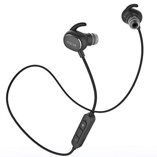 QCY QY19 Bluetooth イヤホン AAC aptX 高音質コーデック対応 IP64 防塵防水 ノイズキャンセリング ブルートゥース 4.1 ワイヤレス 両耳 マイク付き ハンズフリー通話 ブラック QCY-QY19BK