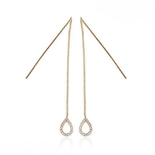[해외]NEOGLORY [네오구로리] 큐빅 눈물 디자인 체인 귀걸이 (네오 글로리)/NEOGLORY [Neoglobory] Cubic Zirconia Teardrop Design Chain Earrings (Neo Glory)