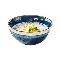 セラミックライスボウル、クリエイティブブルーインスタント麺ボウル麺ボウル家庭用サラダボウル団子ボウル13 * 6センチ (Color : 13*6CM)