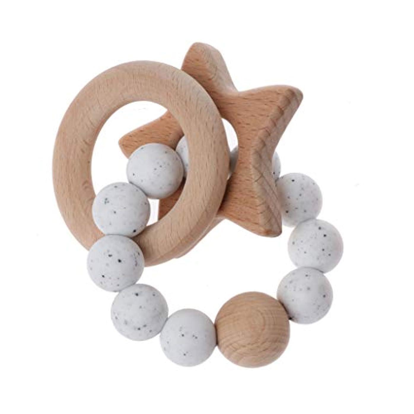 衣服階段学習者Landdumシリコーンおしゃぶりペンタグラム赤ちゃんおしゃぶりシリコーンリング赤ちゃん看護玩具かむ玩具歯を作るガラガラのおもちゃ - 1#