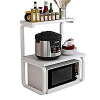 家庭用電子レンジラック、床置きキッチン収納ラック/オーブンブラケット、多機能ラック2層木製作業台