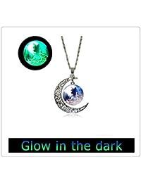 輝くガラスのタイルネックレス満月のネックレスウルフネックレスムーンネックレスガラスタイルジュエリーアニマルジュエリームーンジュエリー