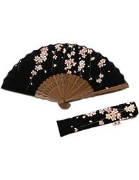 ≪扇子≫ コットン桜柄 扇子と同じ柄の差し袋付き【紙箱入り】
