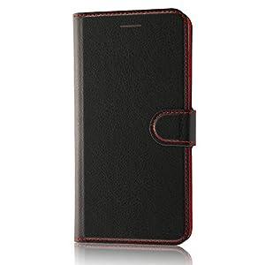 レイ・アウト iPhone7 Plus ケース 手帳型 シンプル マグネット(スリム /カード収納×3 /スタンド機能) ブラック/レッド RT-P13ELC1/BR